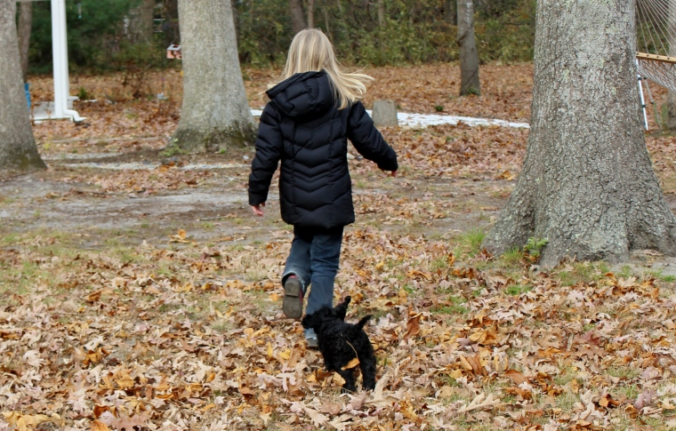 Puppy running with girl